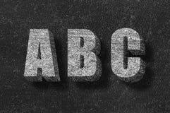在黑板的ABC 免版税图库摄影
