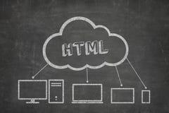 在黑板的HTML概念 库存照片