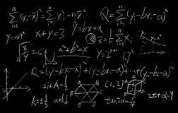 在黑板背景的算术惯例 库存照片