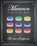 在黑板背景,传染媒介,例证, fre的Macaron菜单 免版税库存照片