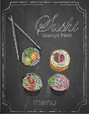 在黑板背景,传染媒介,例证, freeh的寿司菜单 免版税库存图片