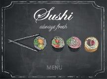 在黑板背景,传染媒介,例证, freeh的寿司菜单 免版税图库摄影
