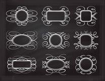 在黑板设置的传染媒介框架 库存照片