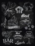 在黑板设置的菜单 免版税图库摄影