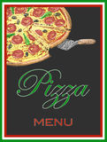 在黑板,例证,传染媒介,意大利食物的薄饼菜单 免版税库存照片
