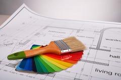 在结构图的刷子和油漆样品 免版税库存图片