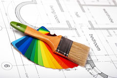 在结构图的刷子和油漆样品 图库摄影