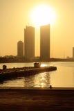 在巴林港口的日落 免版税库存图片