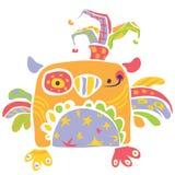 在画样式的孩子的五颜六色的愉快的逗人喜爱的小猫头鹰设计 免版税库存照片