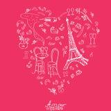 在巴黎样式的Vecor图表纹理 巴黎乱画 皇族释放例证