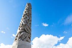 在维格兰雕塑公园的巨型独石在奥斯陆,挪威 免版税库存照片