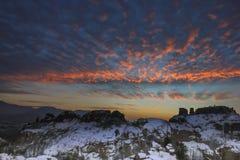 在贝洛格拉奇克岩石的日落 33c 1月横向俄国温度ural冬天 建造者 免版税库存图片