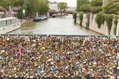 在巴黎桥梁的爱锁 库存图片