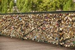 在巴黎桥梁的爱锁 免版税库存图片