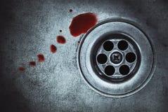 在水槽的血液 免版税库存图片