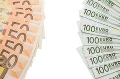 100在50欧元笔记对面的欧元 库存照片