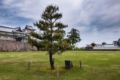 在今池城堡前面的绿色庭院 库存照片