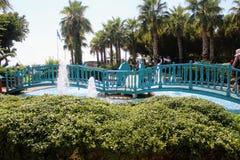 在水池的一个木桥与喷泉在阿塔图尔克阿拉尼亚,土耳其100th周年的公园  免版税库存图片