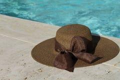 在水池的边缘的布朗帽子 免版税库存图片