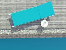 在水池的Deckchair 免版税库存图片