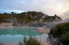 在水池附近的地热活动 免版税库存图片
