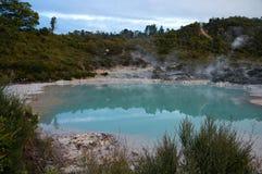 在水池附近的地热活动 免版税图库摄影