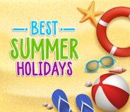 在黄沙的海滩的最佳的暑假五颜六色的标题词 库存例证