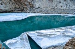在冻河下的河 免版税库存图片