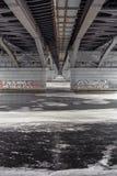 在冻河或湖的看法在Chernavsky桥梁下在沃罗涅日市 图库摄影
