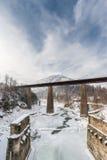 在冻河的铁路桥 33c 1月横向俄国温度ural冬天 免版税库存图片