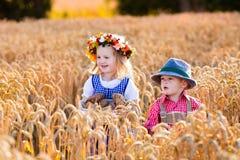 在巴法力亚服装的孩子在麦田 库存照片