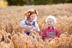在巴法力亚服装的孩子在麦田 免版税库存图片