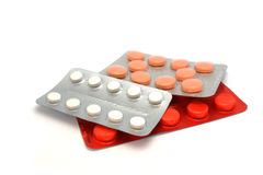 在水泡的五颜六色的药片 库存图片