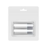 在水泡的白色银AA电池烙记的 免版税库存图片