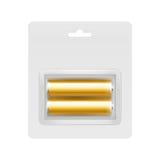 在水泡的金黄碱性AA电池 库存图片