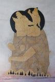 在巴波亚公园的墙壁上的艺术在圣地亚哥 免版税库存照片