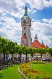 在索波特Molo,波兰的灯塔 免版税库存照片