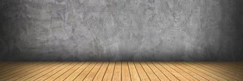 在水泥和木头地板上的水平的设计样式的 库存图片