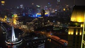 在黄浦江&浦东地平线的看法在晚上,上海 影视素材