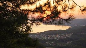在黑海和山的美好的五颜六色的日落通过从高度的杉树 Agoy, Tuapse地区,俄罗斯 库存图片