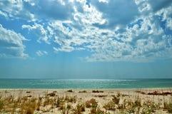 在黑海岸在夏天, Lazurne,乌克兰的看法 免版税图库摄影