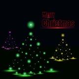 在黑海报的发光的圣诞树 免版税图库摄影