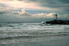 在黑海海岸的灯塔  库存图片
