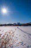 在冻海湾的道路 免版税库存照片