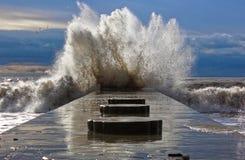 在黑海的多暴风雨的天气在Divnomorsk 库存照片