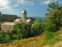 在黑海的寺庙 库存图片