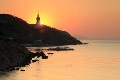 在黑海的日出 免版税库存照片