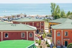 在黑海的村庄在Kranevo,保加利亚沿岸航行 库存图片