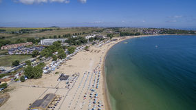 在黑海的美丽的海滩从上面 图库摄影