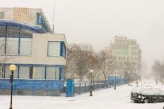 在黑海的避暑胜地在波摩莱,保加利亚, 12月31日 免版税库存照片